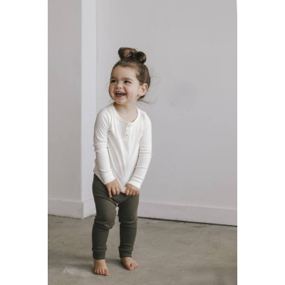 Jamie Kay Cotton Modal Henley Top Long Sleeve milk