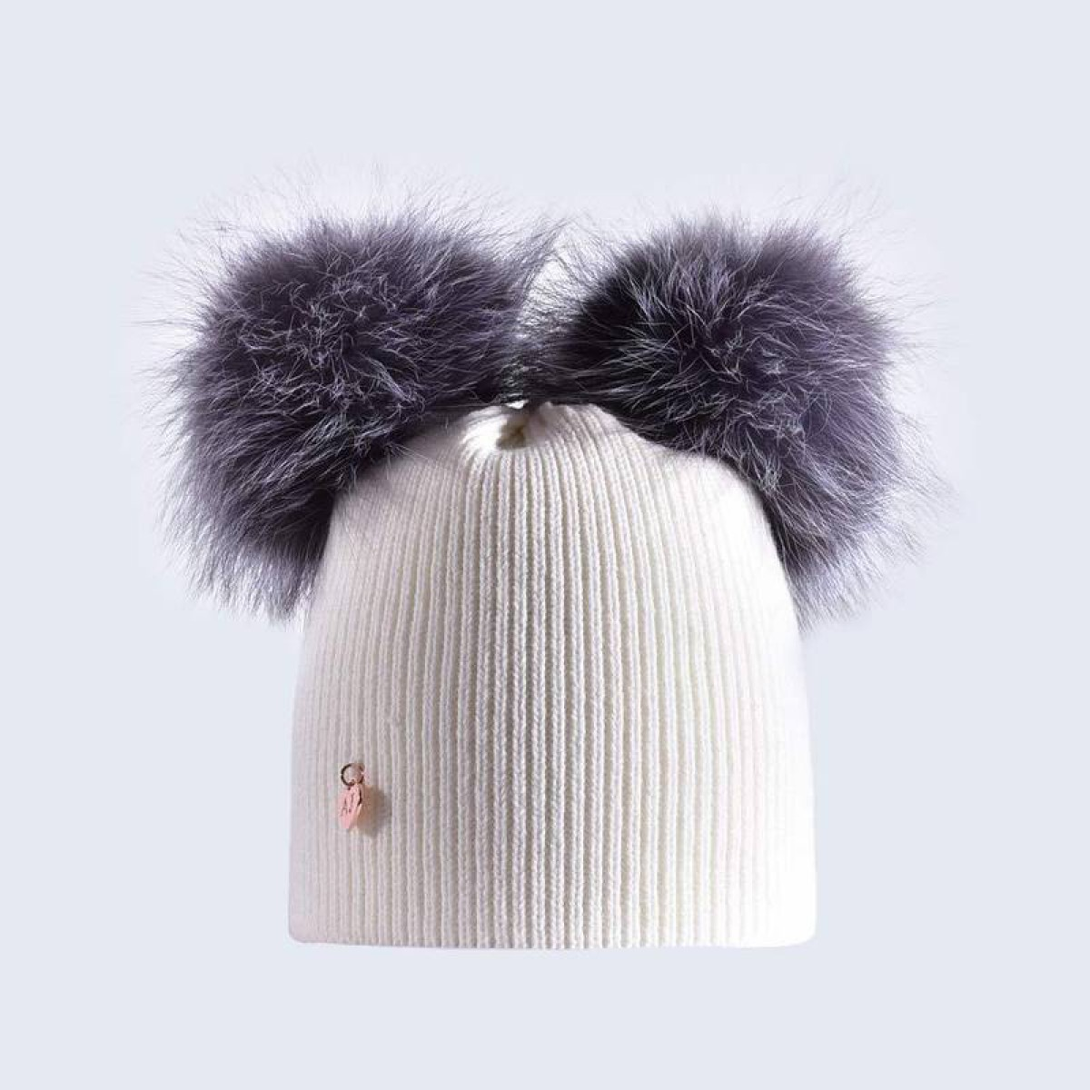2a65064e38b Amelia Jane London Ivory Hat with Silver Fur Poms Kids- Adult Double Pom Pom