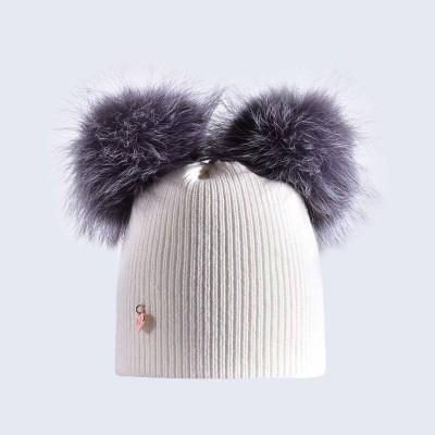 Amelia Jane London Ivory Hat with Silver Fur Poms Kids- Adult Double Pom Pom