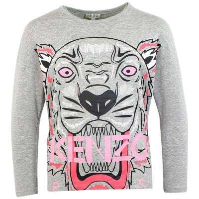 Kenzo Big Tiger Print Long Sleeve T Shirt Marked Grey 8A, 10A