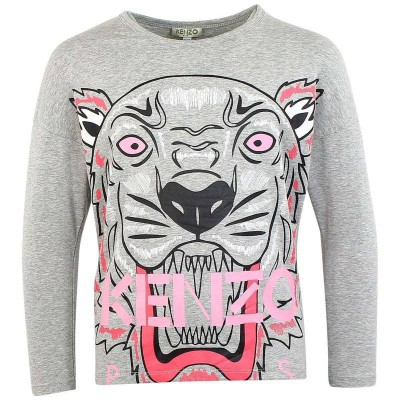 Kenzo Big Tiger Print Long Sleeve T Shirt Marked Grey 14A, 16A