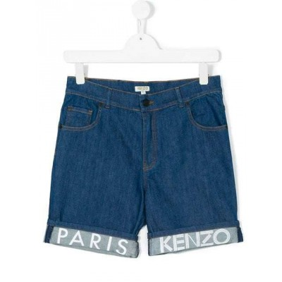 Kenzo Branded turn-up denim shorts 4A 5A