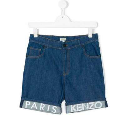Kenzo Branded turn-up denim shorts 8A 10A