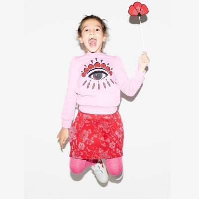 Kenzo Kids Calia Sweatshirt Bubble Pink Winking Eyes 8A-10A