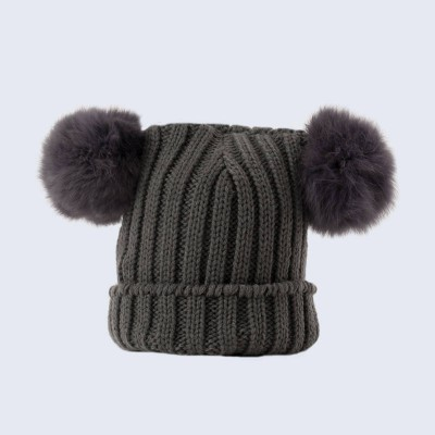 Amelia Jane London Tiny Tots Grey Double Fur Pom Pom Hat