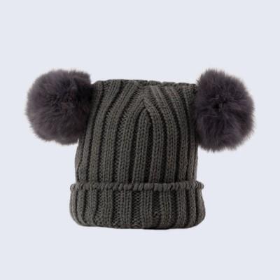 Amelia Jane London Tiny Tots Grey Double Fur Pom Pom Hat