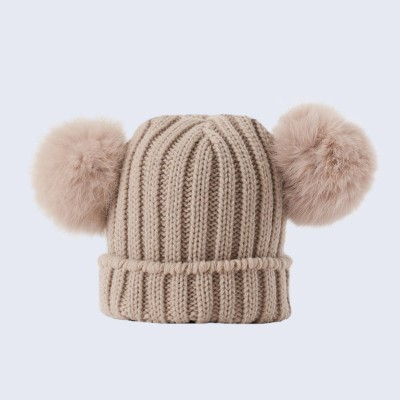Amelia Jane London Tiny Tots Oatmeal Double Fur Pom Pom Hat