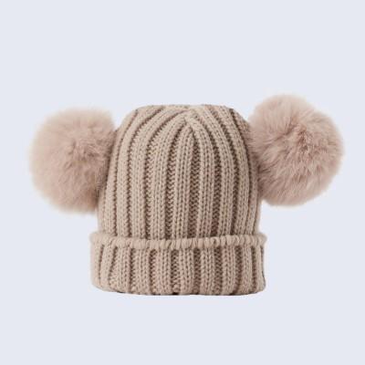 Amelia Jane London Tiny Tots Oatmeal Double Fur Pom Pom Hat