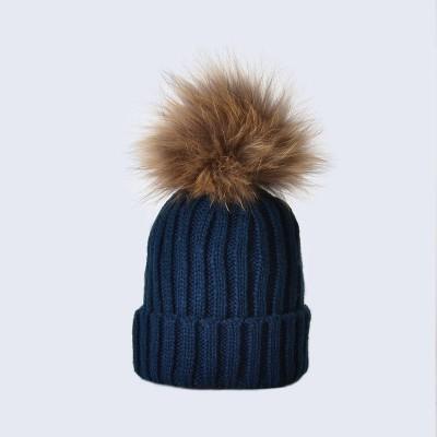 Amelia Jane London Navy Hat with Brown Fur Pom Pom Kids Single Pom Pom