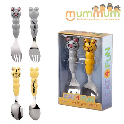 Eat4Fun Animos 2pc Utensil Set - Kitty + Mouse