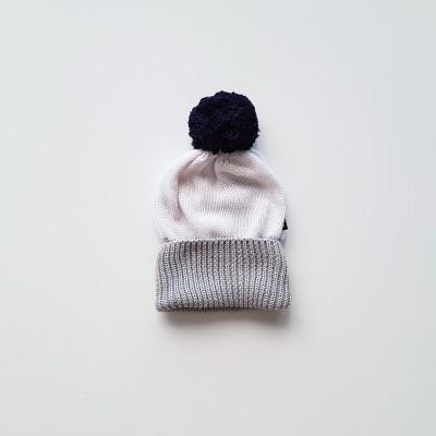 Anarkid Beanie Pom Pom Knitted White/Ink Navy