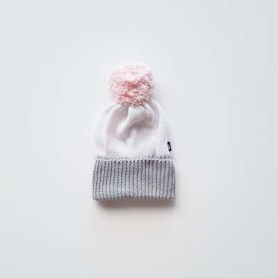 Anarkid Beanie Pom Pom Knitted White/Ice Pink