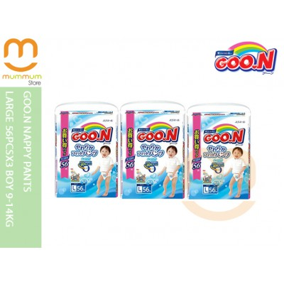Goo.N Nappy Pants Large 56pcsx3 Boy 9-14kg