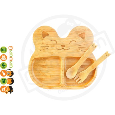 La Boos Cat Toddler Eating Plate 3PC Set