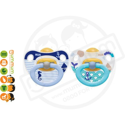 Nuk Classic Latex Soother 0-6mth Blue 2pk