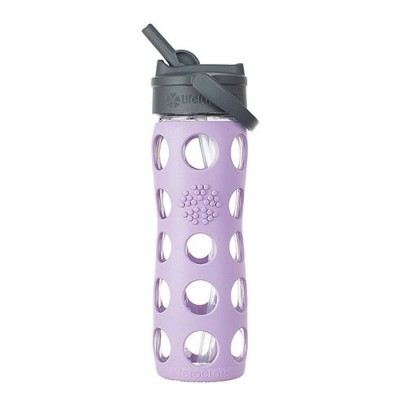 Lifefactory Glass Bottle Straw Cap And Silicone Sleeve 475ml - Lilac