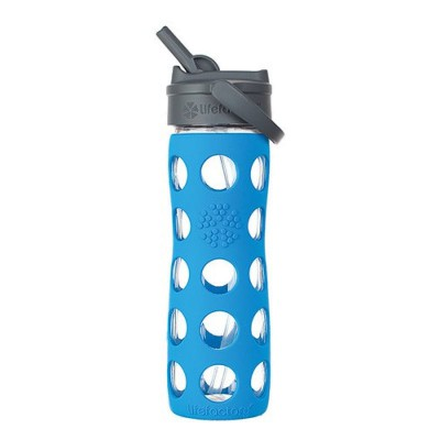 Lifefactory Glass Bottle Straw Cap And Silicone Sleeve 475ml - Ocean Blue