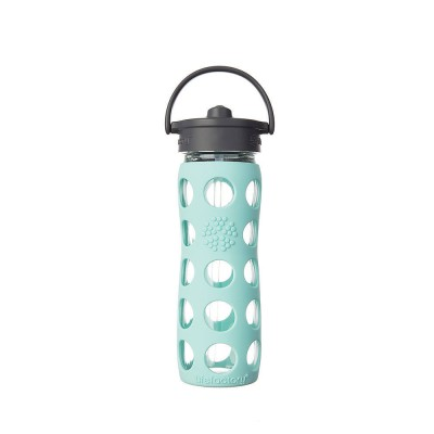 Lifefactory Glass Bottle with Straw Cap and Silicone Sleeve 475 ml - Turquoise