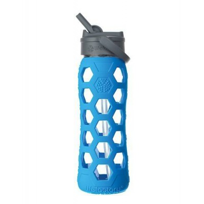 Lifefactory Glass Bottle With Straw Cap And Silicone Sleeve 650ml - Ocean Blue