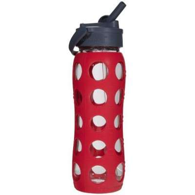 Lifefactory Glass Bottle With Straw Cap And Silicone Sleeve 650ml - Red