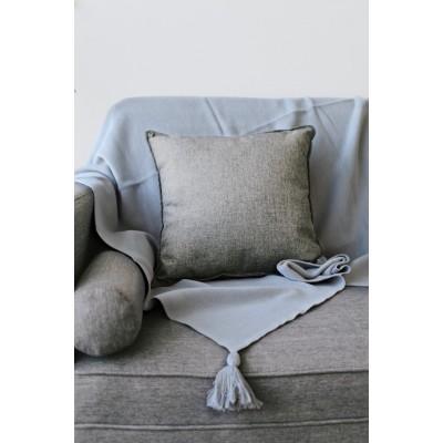 Jamie Kay Lily Tassel Blanket - Light Grey 100% Soft Cotton