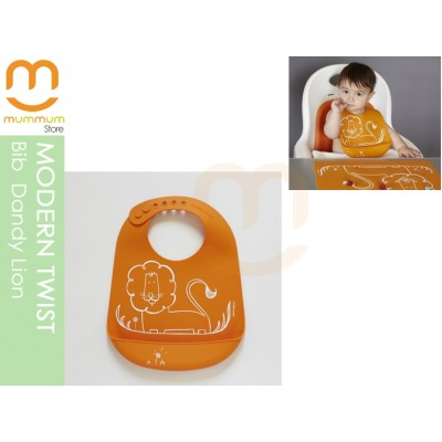 Modern Twist Silicon Bucket Bib Dandy Lion Orange