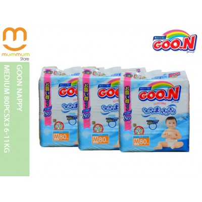 Goo.N Nappy Medium 80pcsX3 6-11kg