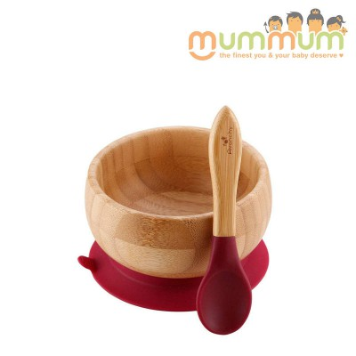 Avanchy bamboo baby suction bowl & spoon magenta