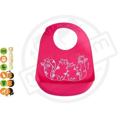 ModernTwist Silicon Bib Kitties Magenta