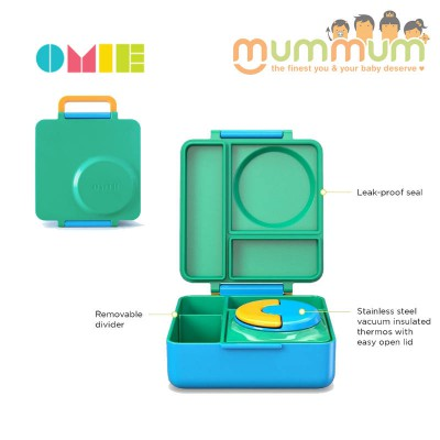 OmieLife Green Meadow OmieBox Lunchbox With Thermal Food Jar