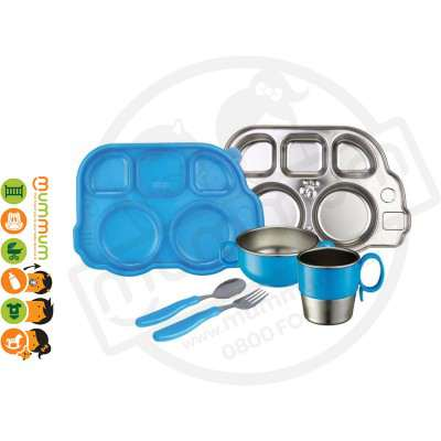 Innobaby 7 Piece Stainless Mealtime Set Blue BPA Free