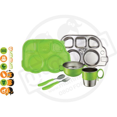 Innobaby 7 Piece Stainless Mealtime Set Green BPA Free