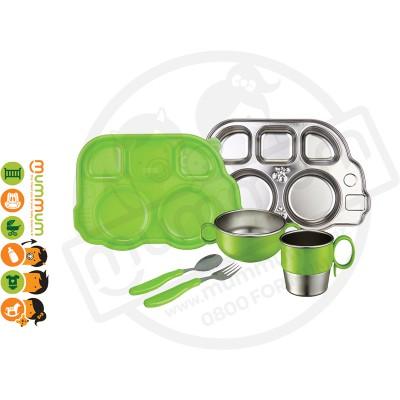 Innobaby 7 Piece Stainless Mealtime Set Green BPA Free