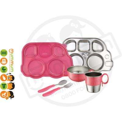 Innobaby 7 Piece Stainless Mealtime Set Pink BPA Free