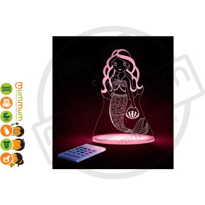 Aloka Night Light Mermaid Multi Colour With Remote Control