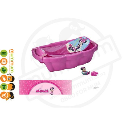 The First Years Minnie Mouse Bath Tub W/ Bath Sling + Toys