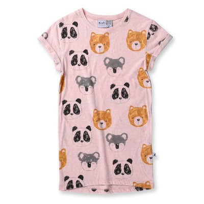 Minti Different Bears Rolled Up Tee Dress Pink Marle