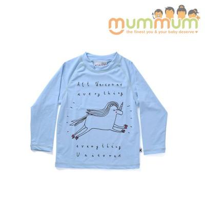Minti Everything Unicorns Long Sleeve Rashie Sky 7ys SPF50+ Awesome For Summer