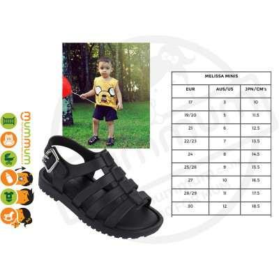 mini Melissa Flox Cool Black Sandals Boys & Girls Stock Clearance