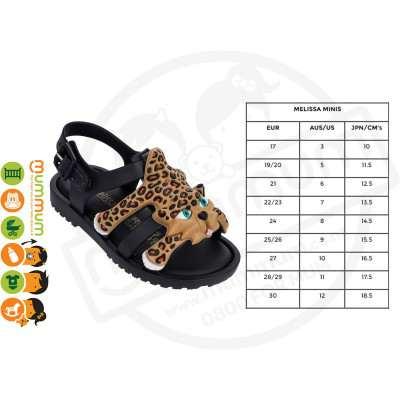 Mini Melissa Jeremy Scott FLox Leopard Black Sandal Size 27 Stock Clearance