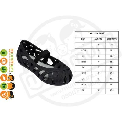 Mini Melissa JW Jean Slip On Shoes Black Matt Size 19-27 Stock Clearance