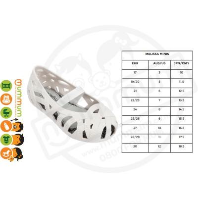Mini Melissa JW Jean Slip On Shoes White Matt Size 19-27 Stock Clearance
