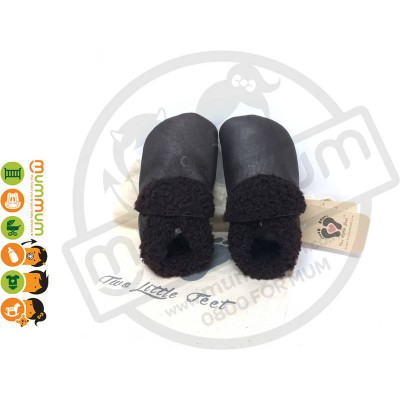 Two Little Feet  Baby Leather Slippers  Lamb Wool Rich Chocolate