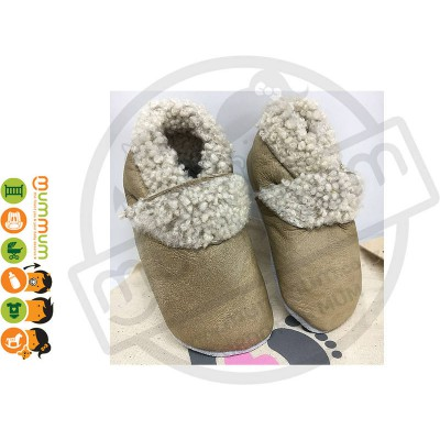 Two Little Feet  Baby Leather Slippers  Lamb Wool Fawn / Beige up to 12cm