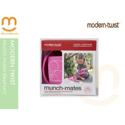 modern twist Silicone 3pc Munch Mates Pink Elephant