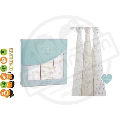 Aden and Anais Muslin Wraps Metallic Gold 3pack