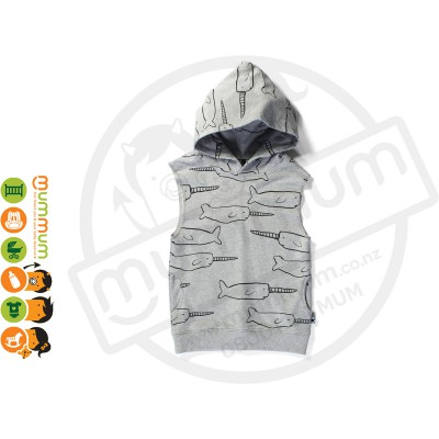 Minti Sleeveless Pocket Hood Narwhal Grey Marle