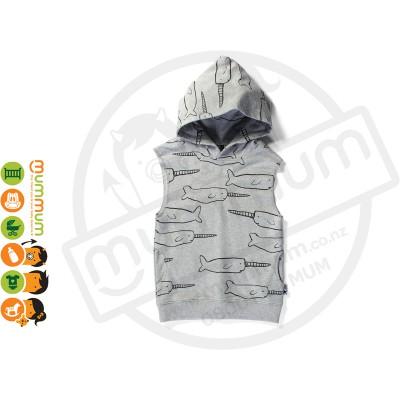 Minti Sleeveless Pocket Hood Narwhal Grey Marle