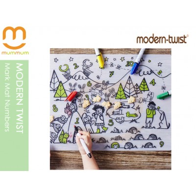 modern twist Art Activity Silicone Mat with 4pack Washable Color Pens Numbers