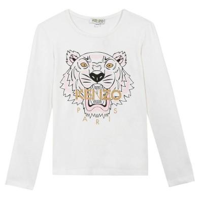 Kenzo Tiger Print Long Sleeve T shirt  White 14A ( size8 )
